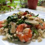 【唐辛子レシピ】海老と大麦のペペロンチーノ