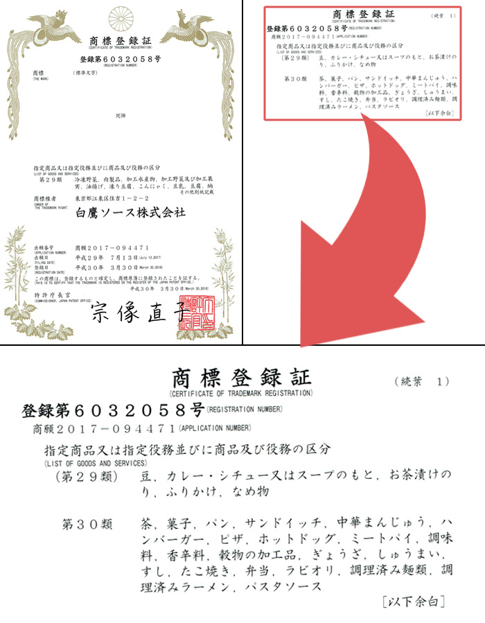 死神の商標登録証