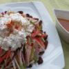 【唐辛子レシピ】チーズと根菜のサラダ 唐辛子みそドレッシング添え